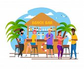 Tourists Group Having Rest At Beach Bar Cartoon. Vacation In Southern Country. Relaxing With Alcohol poster