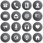Spherical Communication Icon Set. Vector Grey Pictograms For Business, Mobile, Web: Phone, Mobile, P poster