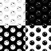 Cute Cartoon Moon Pattern Set With Cheerful Moon. Funny Vector Black And White Moon Pattern Set. Sea poster