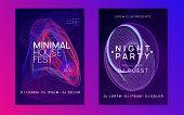 Techno Event. Futuristic Show Banner Set. Dynamic Fluid Shape And Line. Neon Techno Event Flyer. Ele poster