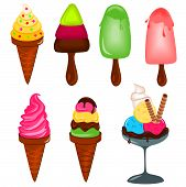 stock photo of ice cream cone  - Illustration of different kind of sweet ice creams - JPG