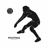 Volleyball Player Vector. Silhouette Of Volleyball Player. Vector Illustration poster