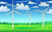 White Wind Generators Mills, Wind Turbine On Green Field, Wind Energy Eco Concept poster