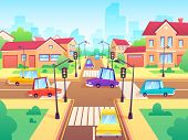 Crossroad With Cars. City Suburb Traffic Jam, Street Crosswalk With Traffic Lights And Road Intersec poster