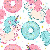Vector Seamless Pattern With Cute Unicorn And Donuts. Funny Pattern For Children With Cute Unicorn A poster