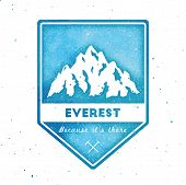 Mountain Everest Outdoor Adventure Insignia. Climbing, Trekking, Hiking, Mountaineering And Other Ex poster