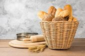 Many Types Of Bread, Including Croissants, Whole Wheat Rolls, Whole Wheat Bread, All Baguette, Place poster