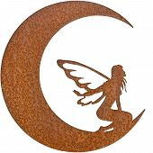 stock photo of tinkerbell  - A Metal Textured Fairy inside of a Moon - JPG