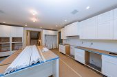 Installing New In Modern Kitchen Cabinet Of Installation Base For Island In Center poster