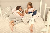 Kids Prepare Go To Bed. Pleasant Time Cozy Bedroom. Girls Long Hair Cute Pajamas Relax Read Book. Sa poster