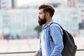 Looking For Adventures. Tourist Handsome Thoughtful Hipster Backpack. Man With Beard And Rucksack Ex poster