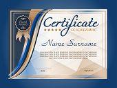 Certificate Of Achievement, Diploma. Winning The Competition. Reward. Award Winner. Blue Decorative  poster