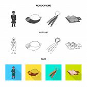 Vector Illustration Of Culture And Sightseeing Icon. Collection Of Culture And Originality Vector Ic poster