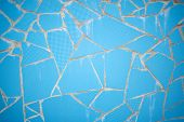Rock Stone Blue Painted Symetry Decor Tile With Cracks Wall Background Texture. Tile Blue White And  poster