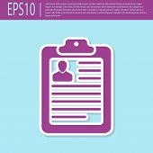 Retro Purple Clipboard With Resume And Man Silhouette Icon Isolated On Turquoise Background. Cv Appl poster