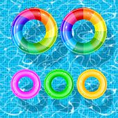 Set Of Rubber Swim Rings With Different Bright Colors And Designs. Rings Are Float In Swimming Pool  poster