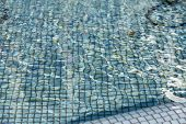 The Distortion Of Variety Shades Of Blue Pool Mosaic Tiles When Shot Through The Water. poster