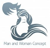 An Illustration Of A Handsome Man And Beautiful Woman With Flowing Hair In Profile poster