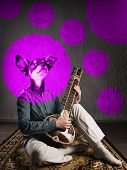 Psychedelic Dog Plays Sitar. Funny Collage. Animal Protection Concept. Image poster