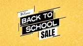 Back To School Sale Poster Or Banner With School Supplies Pattern In Background. Shopping, Discounts poster