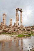 image of amman  - Temple of Hercules in antique citadel in Amman Jordan - JPG