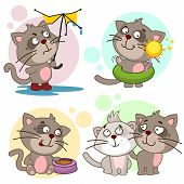 A Set Of Cartoon Illustration Icons For Design And Children With Cats, A Cat With A Broken Umbrella  poster