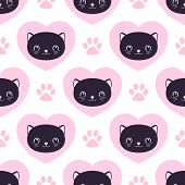 Cute Kitty Seamless Pattern, Cats And Hearts. Texture For Wallpapers, Fabric, Wrap, Web Page Backgro poster