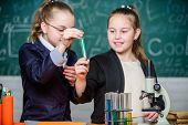 Science Is We. Little Girls Scientist With Microscope. Biology Lab. Happy Genius. Chemistry Research poster