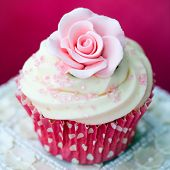 stock photo of sugarpaste  - Rose cupcake - JPG