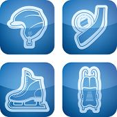 stock photo of luge  - 4 icons (objects) to show different kind of winter sports. Pictured here left to right top to bottom: 