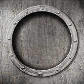 stock photo of ironclad  - metal porthole background - JPG