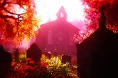 foto of mystique  - Autumn in Cemetery and Crypt 3D render - JPG