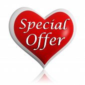stock photo of special day  - valentines day special offer 3d red heart banner with white text seasonal business concept - JPG