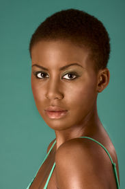 picture of afro hair  - Portrait of young beautiful Afro American woman with short hair wearing make up - JPG