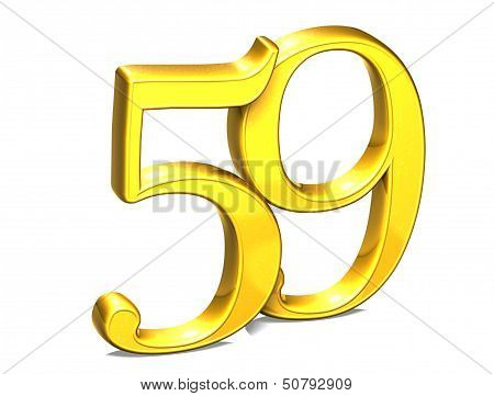 3D Gold Number Fiftynine On