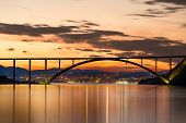 Bridge to Krk Island at sunset, Croatia