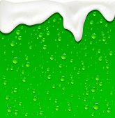 stock photo of malt  - Drops and foam on Green Beer background - JPG
