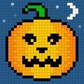 8-bit Pixel Art Halloween Pumpkin