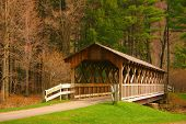 stock photo of covered bridge  - beautiful covered bridge found in nys - JPG