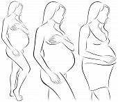 Image of silhouettes of pregnant woman.