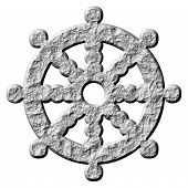 picture of dharma  - 3d stone buddhism symbol wheel of dharma - JPG