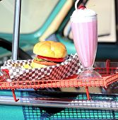 picture of diners  - Drive in diner with burgers and milk shakes.