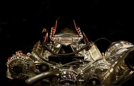 picture of muscle-car  - Muscle Car Engine in the Dark - JPG