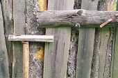 pic of rotten  - Rural fence made out of old rotten boards - JPG