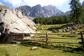stock photo of south tyrol  - Mountain landscape in the Sarntal Alps in South Tyrol - JPG