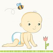 stock photo of creeping  - creeping child in a nappy bee and flower - JPG
