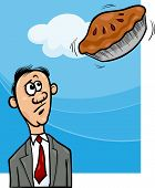 image of proverb  - Cartoon Humor Concept Illustration of Pie in the Sky Saying or Proverb - JPG