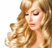 stock photo of barbershop  - Beauty Blonde Woman Portrait - JPG