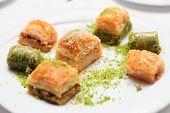 picture of phyllo dough  - Turkish baklava dessert on a plate - JPG