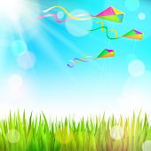 stock photo of kites  - Summer sunny landscape with green grass and colorful kites flying in the sky  - JPG